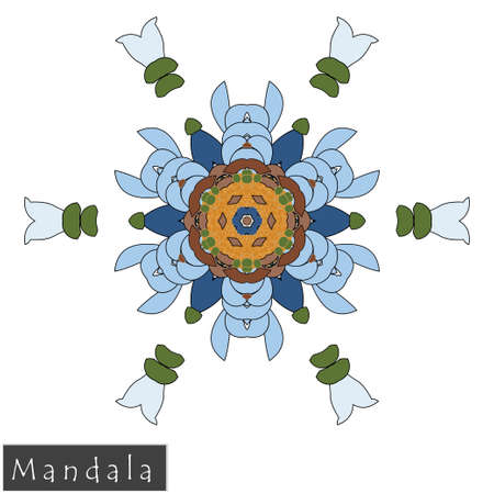 Floral symmetrical geometrical symbol. Vector flower mandala icon isolated on white. Oriental round colored pattern. Arabic, Indian, Moroccan, Spain, Turkish, Pakistan, Chinese decorative element. Vectores
