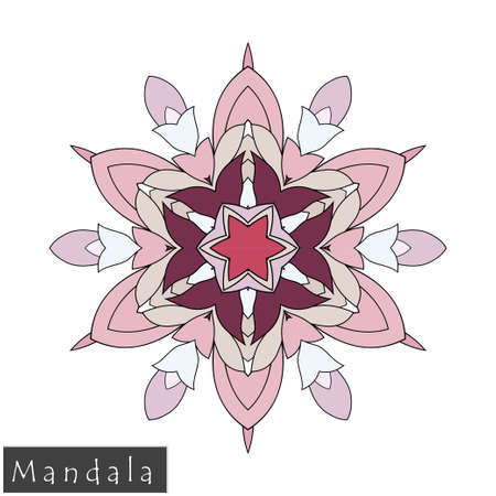 Floral symmetrical geometrical symbol. Vector flower mandala icon isolated on white. Oriental round colored pattern. Arabic, Indian, Moroccan, Spain, Turkish, Pakistan, Chinese decorative element. Stock Illustratie