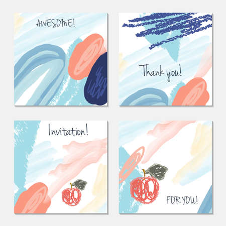 Hand drawn creative invitation greeting cards. Invitation party card template.