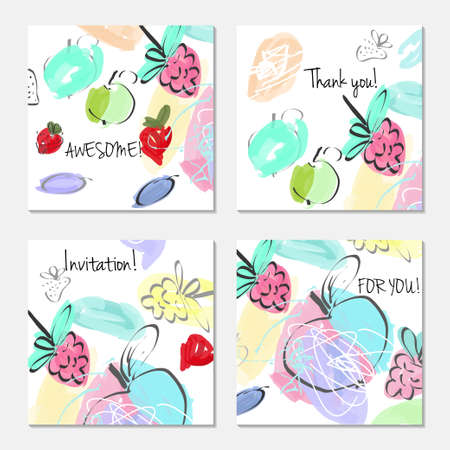 Hand drawn creative invitation greeting cards. Invitation party card template. Abstract creative universal doodles. Roughly brushed floral motifs. Vector illustration. Çizim