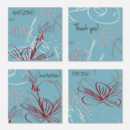 Hand drawn creative invitation greeting cards. Invitation party card template. Set of 4 isolated on layer. Abstract creative universal doodles. Roughly brushed floral motifs. Vector illustration.