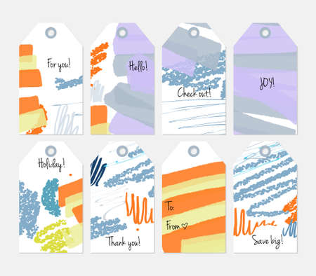 Hand drawn creative tags. Universal shopping, sales, advertising, price tags and product label templates isolated. Abstract artistic doodles. Roughly drawn bright trendy textures. Stock Illustratie