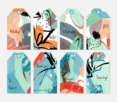 Set of hand drawn creative tags with bright trendy textures. Illustration