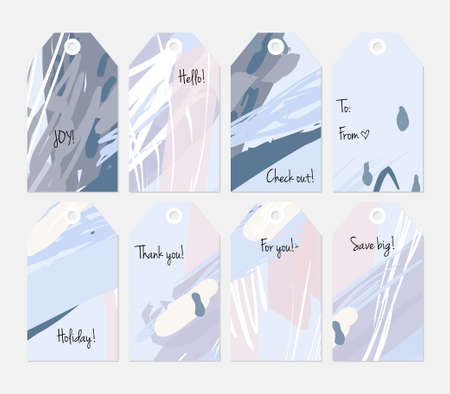 Hand drawn creative tags. Universal shopping, sales, advertising, price tags and product label templates isolated. Abstract artistic doodles. Roughly drawn bright trendy textures. Vector isolated