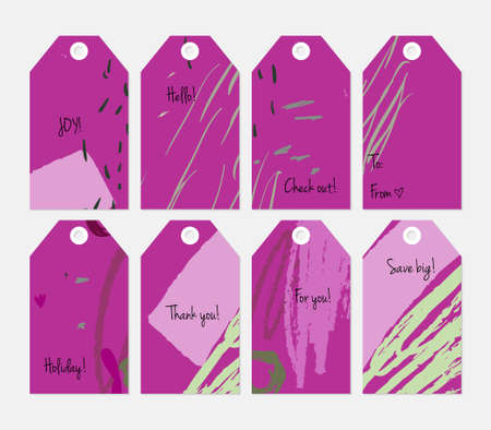 Hand drawn creative tags. Universal shopping, sales, advertising, price tags and product label templates isolated.