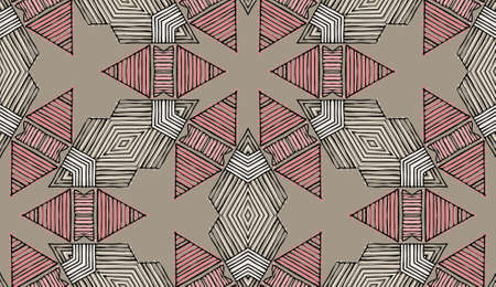 Seamless striped vector pattern. Colored decorative repainting background with tribal and ethnic motifs. Abstract geometric roughly hatched shapes. Circular design.