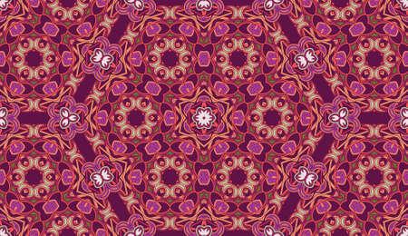 Modello vettoriale circolare senza soluzione di continuità. Sfondo ridipinto decorativo colorato con motivi tribali ed etnici. Pizzo geometrico floreale astratto. Ornamento di fiori simmetrici. Archivio Fotografico - 93242852