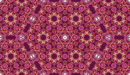 Seamless circular vector pattern. Colored decorative repainting background with tribal and ethnic motifs. Abstract floral geometric lace. Symmetrical flower ornament.