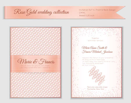 Luxury wedding invitation template with rose gold shiny realistic ribbon. Back and front 5x7 card layout with pink golden pattern on white. Isolated. Design for bridal shower, save the date, banner. Vectores