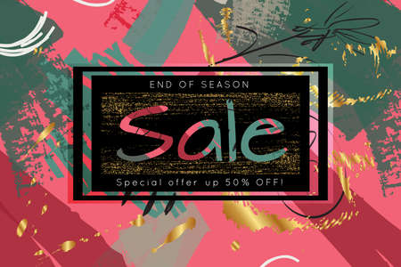 Gold shiny glitter sale advertisement banner on hand drawn background. Sale trendy poster with gold splashes and black frame. Rough colorful doodle fun special offer banner template.