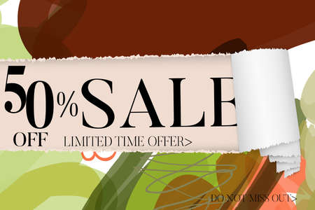 Sale advertisement banner on hand drawn background with torn paper and shiny curl. Sale trendy poster with gold splashes and black frame. Rough colorful doodle fun special offer banner template.