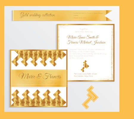 Luxury wedding invitation template with gold shiny realistic ribbon. Back and front square card layout with rich golden pattern on white. Isolated. Design for bridal shower, save the date, banner. Illusztráció