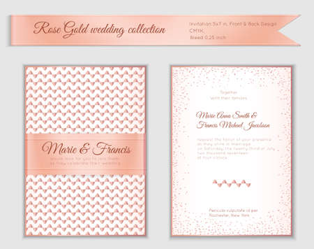 Luxury wedding invitation template with rose gold shiny realistic ribbon. Back and front 5x7 card layout with pink golden pattern on white. Isolated. Design for bridal shower, save the date, banner. Illusztráció