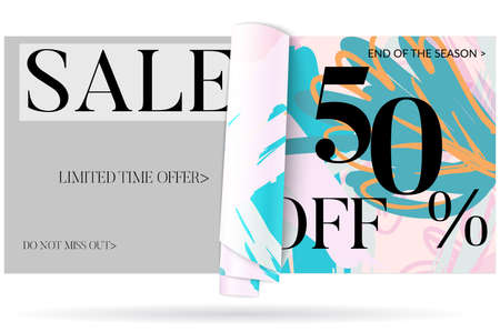 Sale advertisement banner on hand drawn background with curled peel out paper. Sale trendy poster with gold splashes and black frame. Rough colorful doodle fun special offer banner template.