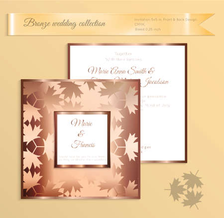 Luxury bronze shiny wedding invitation template. Back and front square card layout with rich gold bronze pattern. Isolated. Design for bridal shower, save the date, banner.