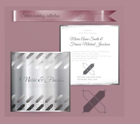 Luxury wedding invitation template with silver shiny ornament. Back and front square card layout with silver pattern on white. Isolated. Design for bridal shower, save the date, banner.