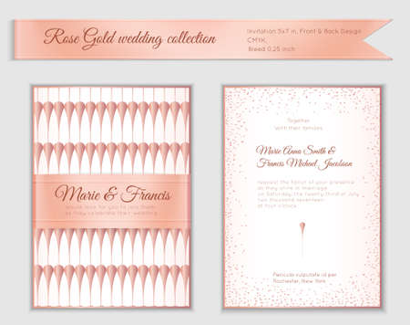 Luxury wedding invitation template with rose gold shiny realistic ribbon. Back and front 5x7 card layout with pink golden pattern on white. Isolated. Design for bridal shower, save the date, banner. Stock fotó - 93508874