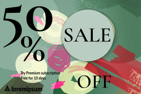 Sale advertisement banner with cut out of paper circle with realistic shadow. Sale trendy poster with gold splashes and black frame. Rough colorful doodle fun special offer banner template.