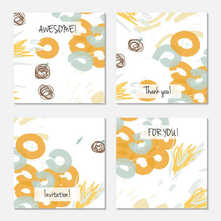 Hand drawn creative universal invitation greeting card template. Abstract scribbles doodles bright colors.Birthday, wedding, party, social media banners templates. Isolated vector card templates.