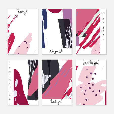 Hand drawn creative universal invitation greeting cards template. Abstract scribbles doodles bright colors. Birthday, wedding, party, social media banners templates. Isolated vector card templates.