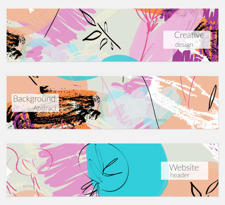 Hand drawn creative universal banner set. Abstract scribbles doodles bright colors. Website header social media advertisement sale brochure templates. Isolated vector banner templates. Vettoriali