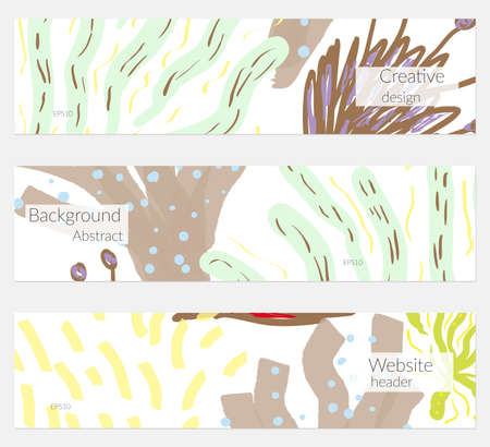 Hand drawn creative universal banner set. Abstract scribbles doodles bright colors. Website header social media advertisement sale brochure templates. Isolated vector banner templates. Çizim