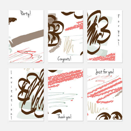 Hand drawn creative universal invitation greeting cards template. Abstract scribbles doodles bright colors.Birthday, wedding, party, social media banners templates. Isolated vector card templates. Çizim