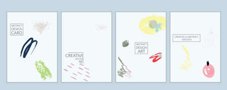 Set of artistic minimal universal card templates with abstract hand drawn doodles. Design for poster, card, invitation. Roughly drawn bright trendy textures. Minimal simple design.Vector isolated