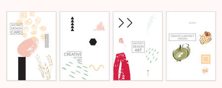 Set of artistic minimal universal card templates in Memphis style with abstract hand drawn doodles on white. Design for poster, card, invitation. Roughly drawn bright trendy textures. Vector isolated Ilustração