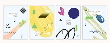 Set artistieke minimale universele kaartsjablonen in Memphis-stijl met abstracte hand getrokken doodles. Ontwerp voor poster, kaart, uitnodiging. Ruw getrokken heldere trendy texturen. Vector geïsoleerd Stockfoto - 96098583