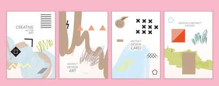 Set artistieke minimale universele kaartsjablonen in Memphis-stijl met abstracte hand getrokken doodles. Ontwerp voor poster, kaart, uitnodiging. Ruw getrokken heldere trendy texturen. Vector geïsoleerd Stockfoto - 96098967