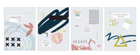 Set artistieke minimale universele kaartsjablonen in Memphis-stijl met abstracte hand getrokken doodles. Ontwerp voor poster, kaart, uitnodiging. Ruw getrokken heldere trendy texturen. Vector geïsoleerd Stockfoto - 96099782