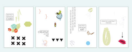 Set of artistic minimal universal card templates in Memphis style with abstract hand drawn doodles on white. Design for poster, card, invitation. Roughly drawn bright trendy textures. Vector isolated Çizim