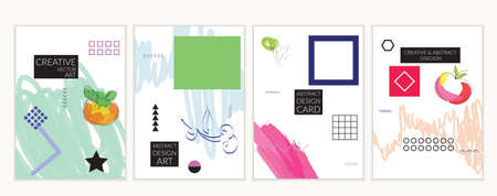 Set of artistic minimal universal card templates in Memphis style with abstract hand drawn doodles. Design for poster, card, invitation. Roughly drawn bright trendy textures. Vector isolated