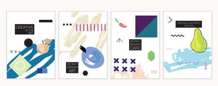 Set artistieke minimale universele kaartsjablonen in Memphis-stijl met abstracte hand getrokken doodles. Ontwerp voor poster, kaart, uitnodiging. Ruw getrokken heldere trendy texturen. Vector geïsoleerd Stockfoto - 96100060