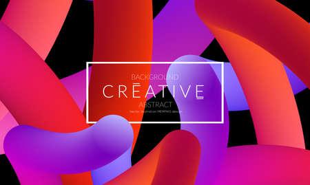 Abstract 3d liquid fluid color shape. Creative Modern vertical social media banner template. Bright neon gradient blend creating innovative 3D effect. Art vector background futuristic design. Banque d'images - 96139024