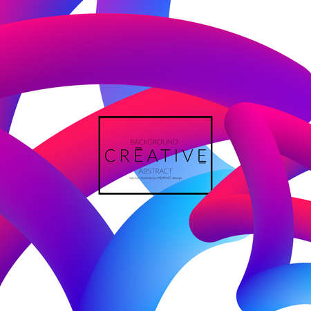 Abstract 3d liquid fluid color shape. Creative Modern Square wed banner template. Bright neon gradient blend creating innovative 3D effect. Art vector background futuristic design. Banque d'images - 96138990