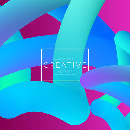 Abstract 3d liquid fluid color shape. Creative Modern Square wed banner template. Bright neon gradient blend creating innovative 3D effect. Art vector background futuristic design. Banque d'images - 96139017