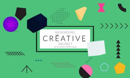 Minimal universal banner templates in Memphis style with 3D shapes. Futuristic retro 3D geometric design. Bright neon web banner layout. Illusztráció