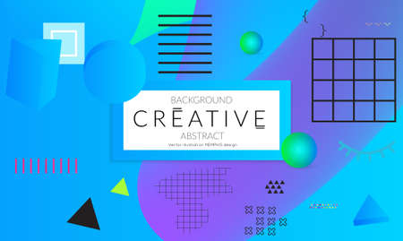 Minimal universal banner templates in Memphis style with 3D shapes. Futuristic retro 3D geometric design. Bright neon web banner layout. Illustration