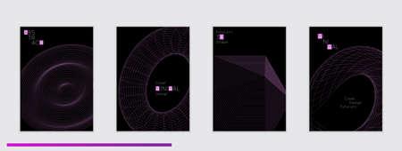 Modèles de couverture noires minimaliste avec futuriste 3d forme de connexion verticale . élément géométriques sur fond noir . site web de médias sociaux . conception géométrique 3d Banque d'images - 96427883