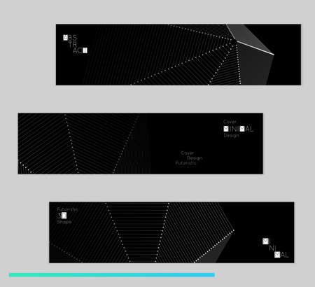 Minimal black banners with futuristic 3D meshes.