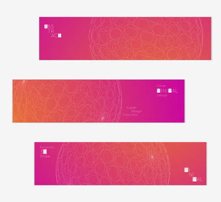 A Minimal banner templates with futuristic 3D meshes. Abstract grid shape on bright gradient background. Social media web banner. Future geometric design.