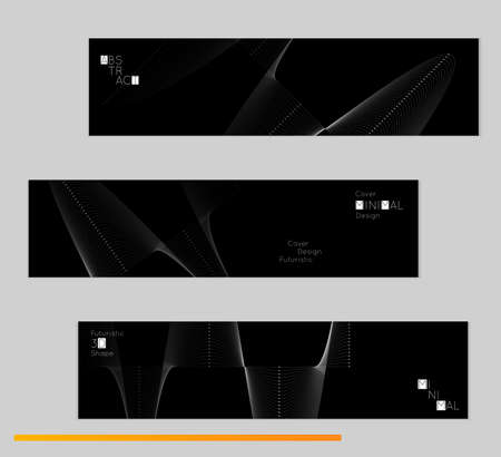 A Minimal black banners with futuristic 3D meshes. Abstract white grid shape on dark background. Social media template. Future geometric design.