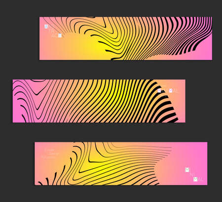Minimal banner templates with marble striped texture. Abstract bright color splash background. Social media web banner. Future geometric design with black marbling pattern on gradient backdrop.