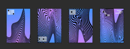 Minimal cover templates with marble striped texture. Abstract bright color splash background. Social media web banner. Future geometric design with black marbling pattern on gradient backdrop.