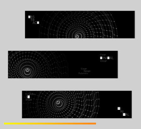 Minimal black banners with futuristic 3D meshes. Abstract white grid shape on dark background. Social media template. Future geometric design.