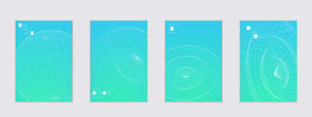 A Minimal cover templates with futuristic 3D meshes. Abstract grid shape on bright gradient background. Social media web banner. Future geometric design.