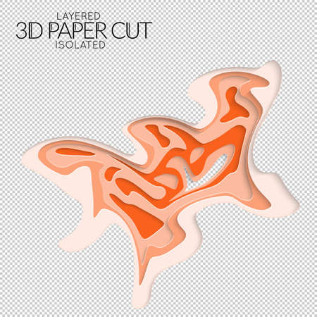Abstract 3D paper cut art shape. Vector  paper cut layers create topography map concept or smooth origami paper carving craft. Wavy layered material design paper art isolated design element. Çizim