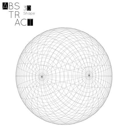 Abstract 3D wireframe geometric shape isolated on white background. 3D sphere. Futuristic design element. 写真素材 - 96518412